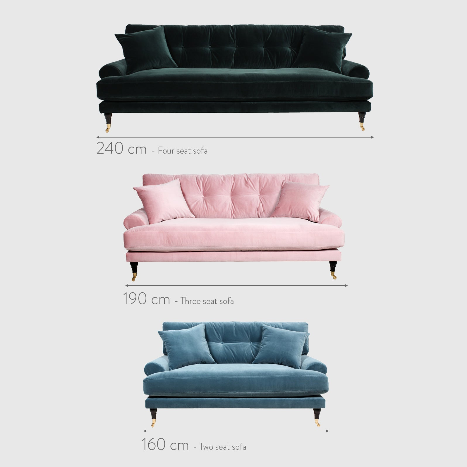 Blanca Dusty pink velvet sofa