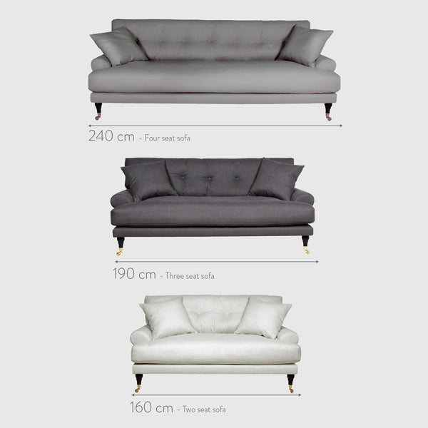 Blanca medium grey linen sofa