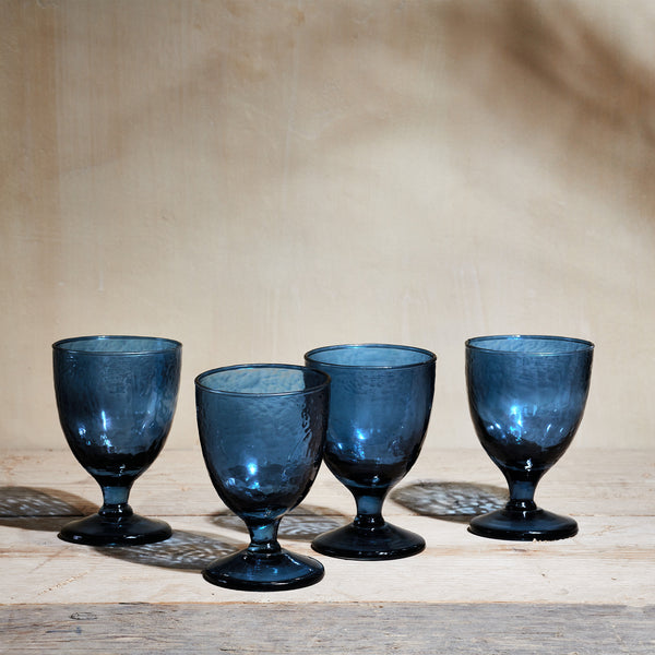 Yala hammered indigo wine glass