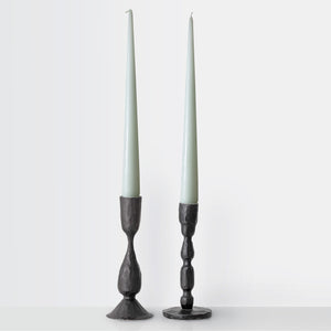 Set of two black iron candlestick holders