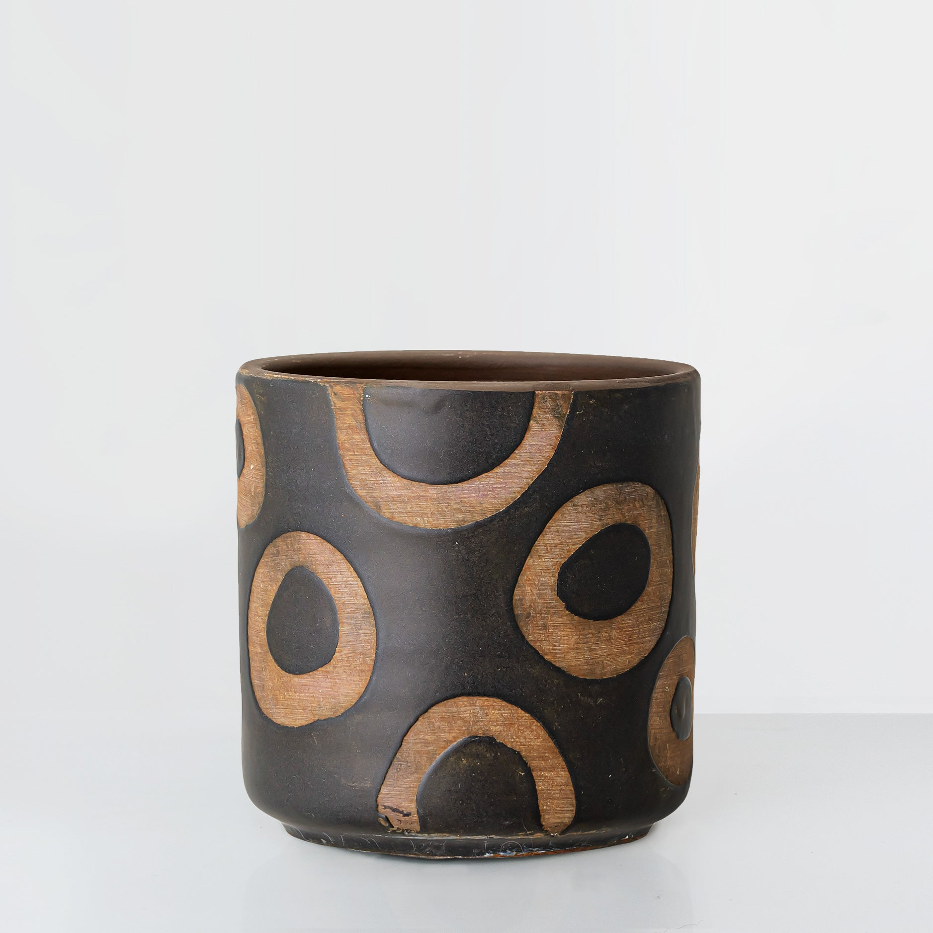 Handcrafted black glaze terracotta plant pot