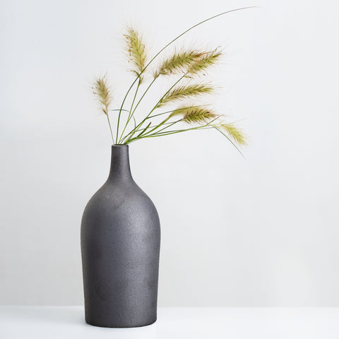Black glazed stoneware vase
