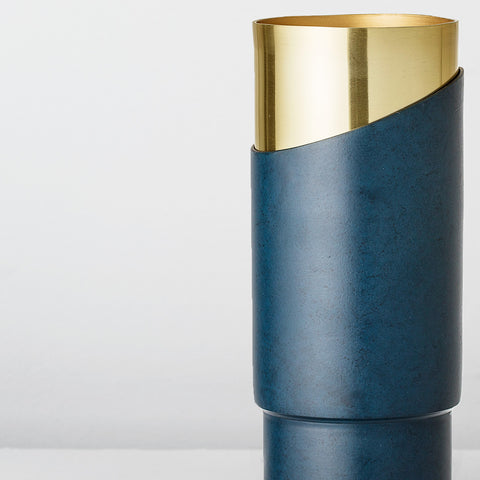 Handmade deep blue metal vase with gold inner