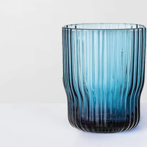 Blue glass ribbed tumbler