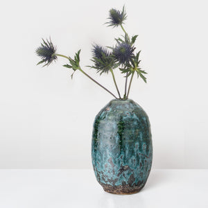 Handcrafted blue glazed Stoneware Vase