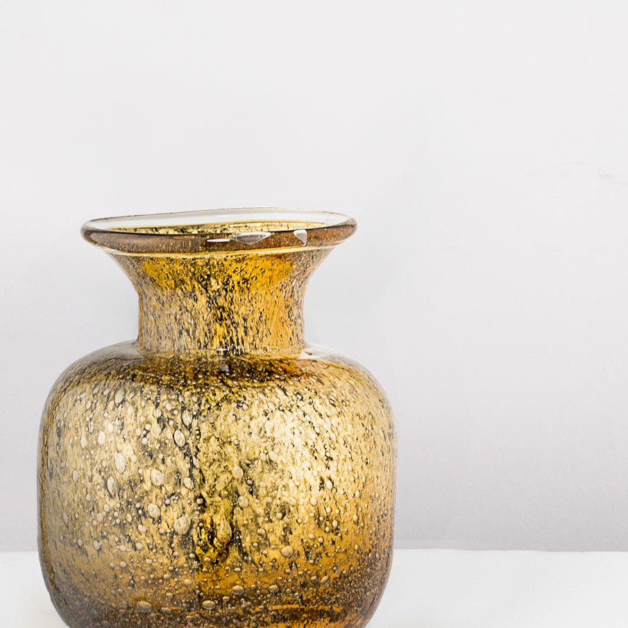 Handmade Amber yellow Glass vase