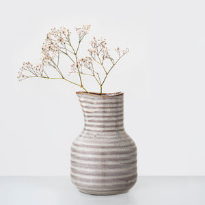 Earth glazed stripe stoneware vase