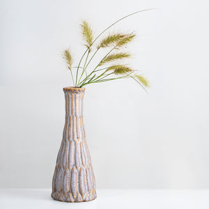 Earth glazed slim stoneware vase