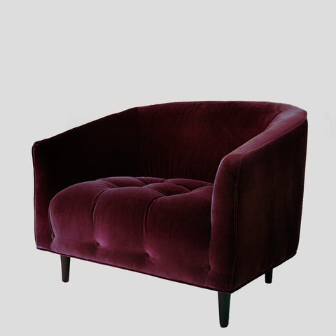 Carla Large Ruby red velvet armchair