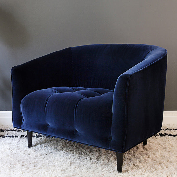 Deep blue velvet armchair