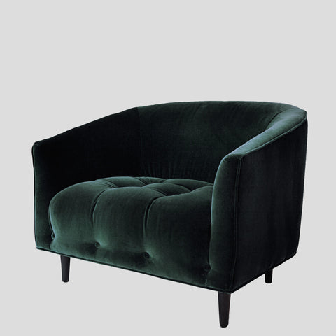 Carla Large emerald green velvet armchair