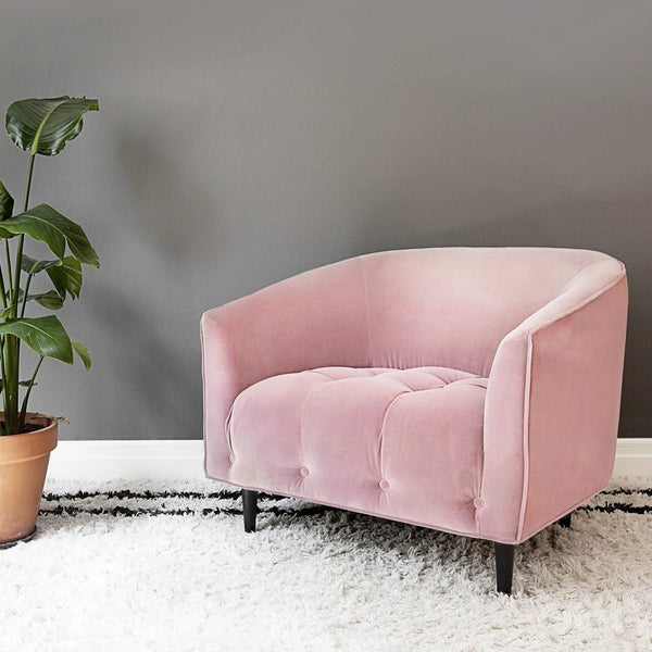 Carla Large dusty pink velvet armchair
