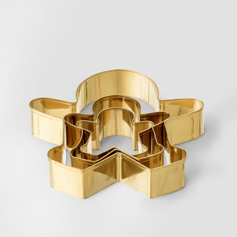 Set of three gold tone cookie cutters