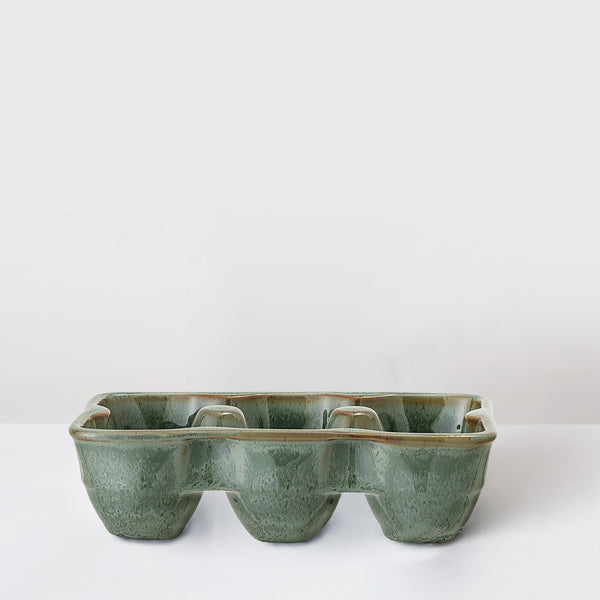 Handcrafted stoneware egg tray