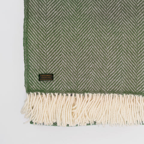 Fishbone Olive New Wool Throw