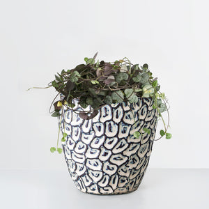 Blue pattern stoneware plant pot