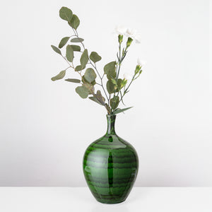 Green glazed stoneware vase