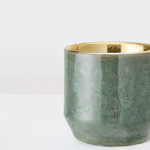 Green glazed and gold stoneware votive