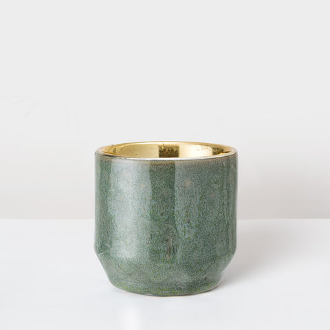 Green glazed and gold tea light holder