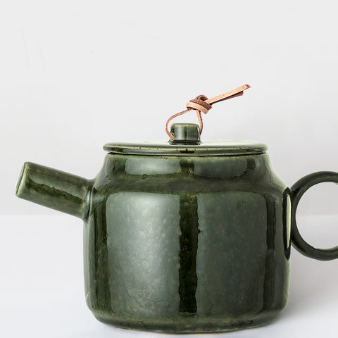 Handcrafted forest green glazed Teapot
