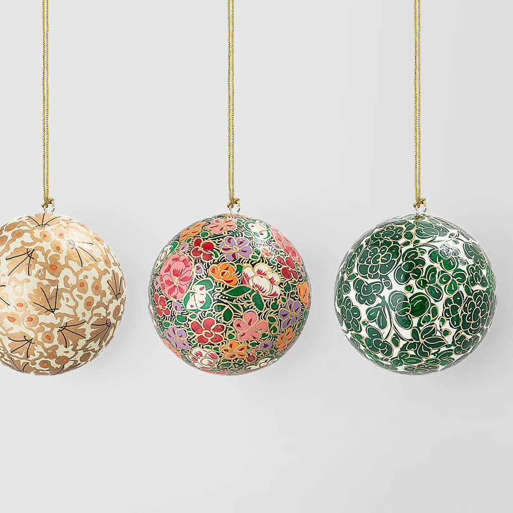 Set of five hand-painted multicoloured baubles