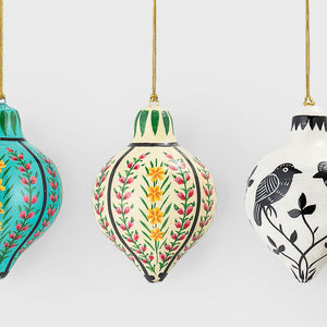 Set of three hand-painted multicoloured baubles
