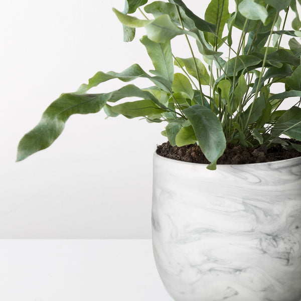 Marble effect glass plant pot