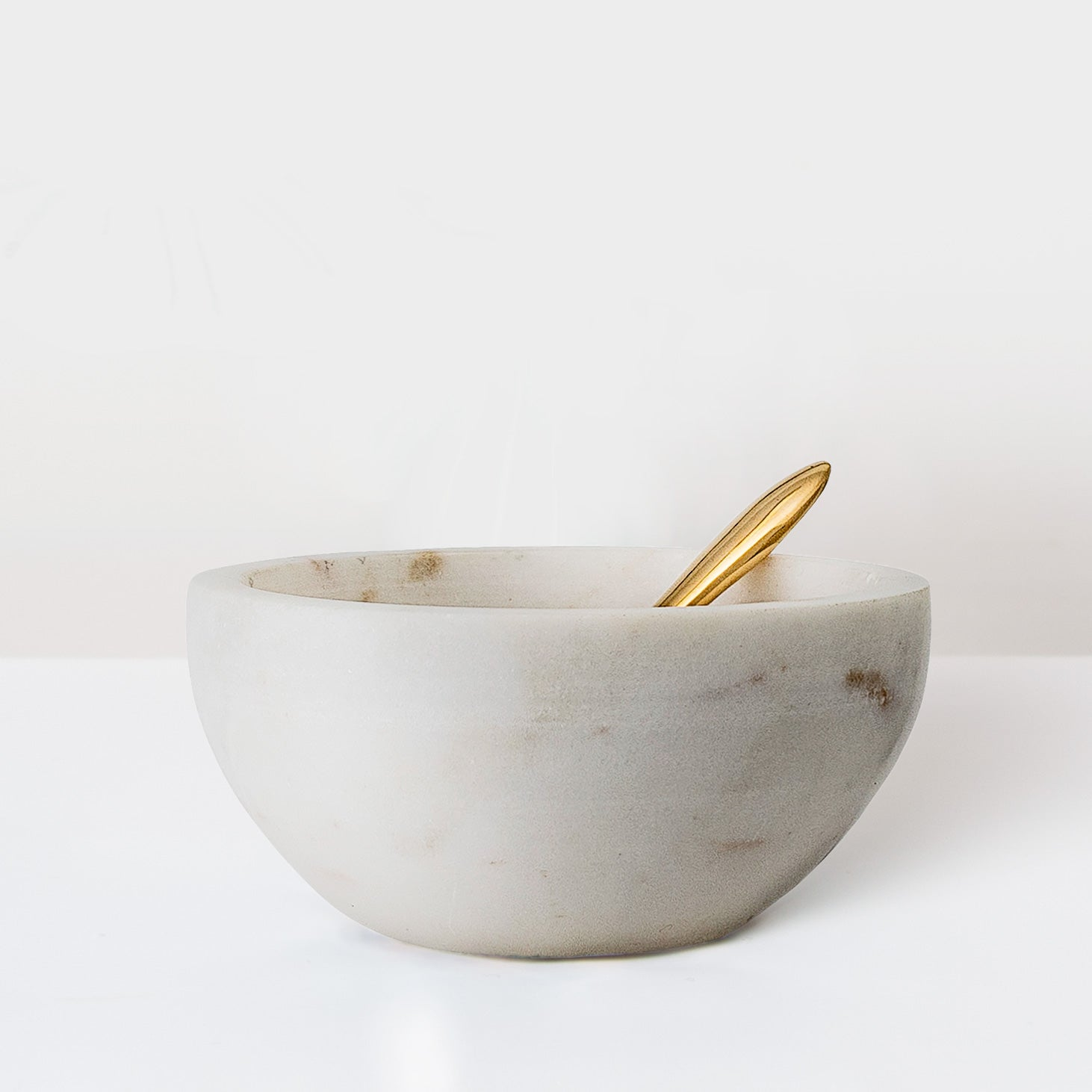 White Marble Salt bowl with gold spoon