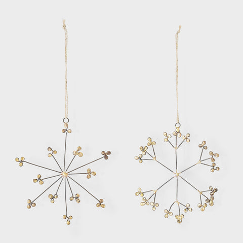 Set of two gold metal snowflake decoration