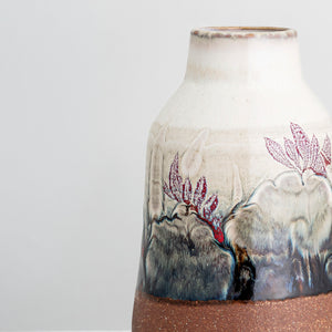 Handcrafted multi-colour glazed stoneware vase