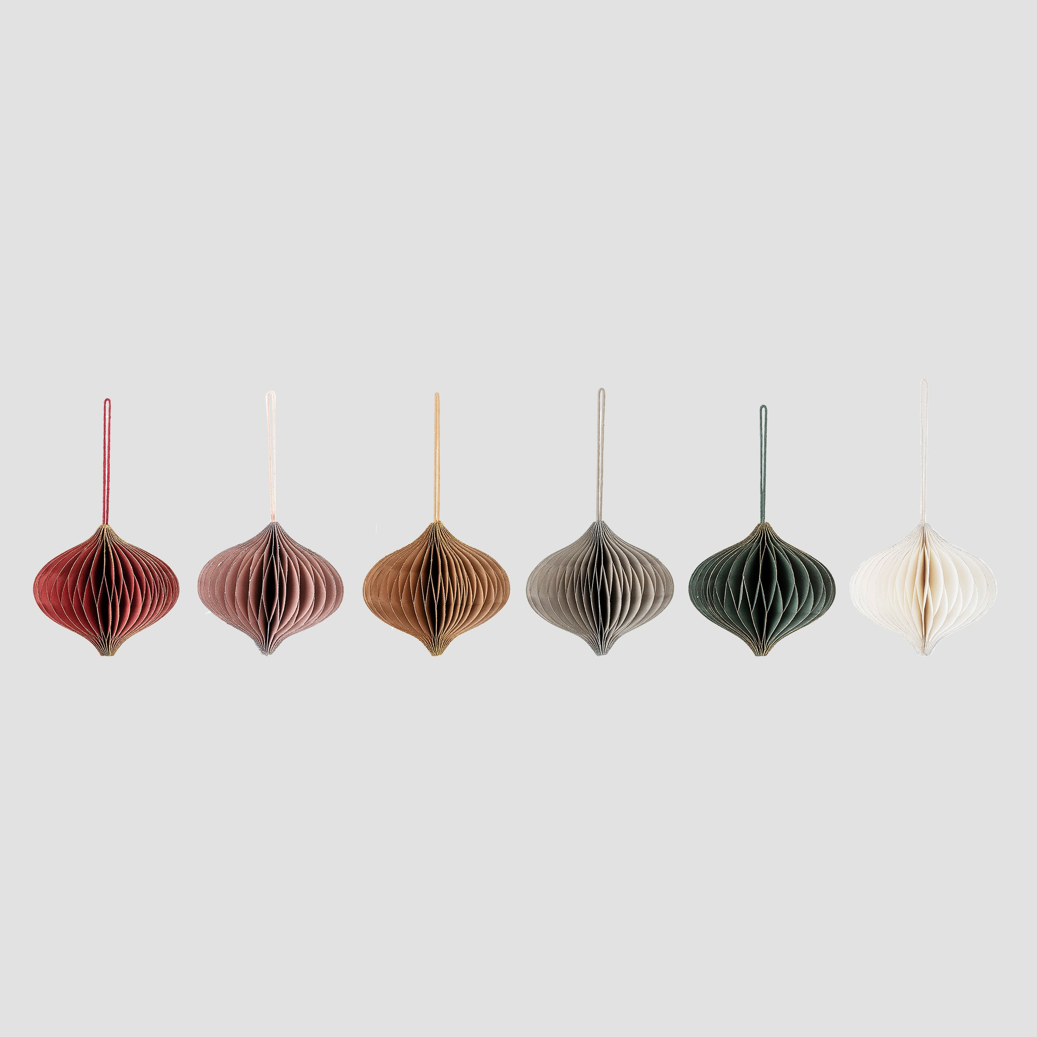 Set of six paper hanging decoration