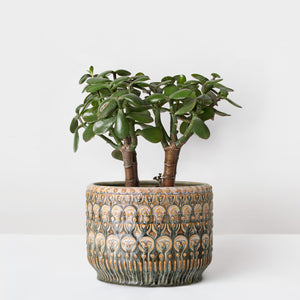 Handmade Large Multi-colour glazed Stoneware plant pot