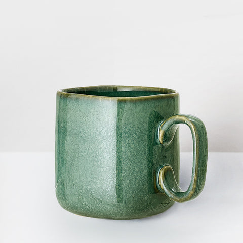 Large Handmade sea green glazed mug