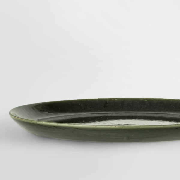 Handcrafted forest green glazed stoneware side plate