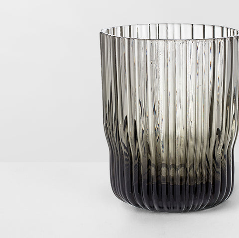 Grey glass ribbed tumbler