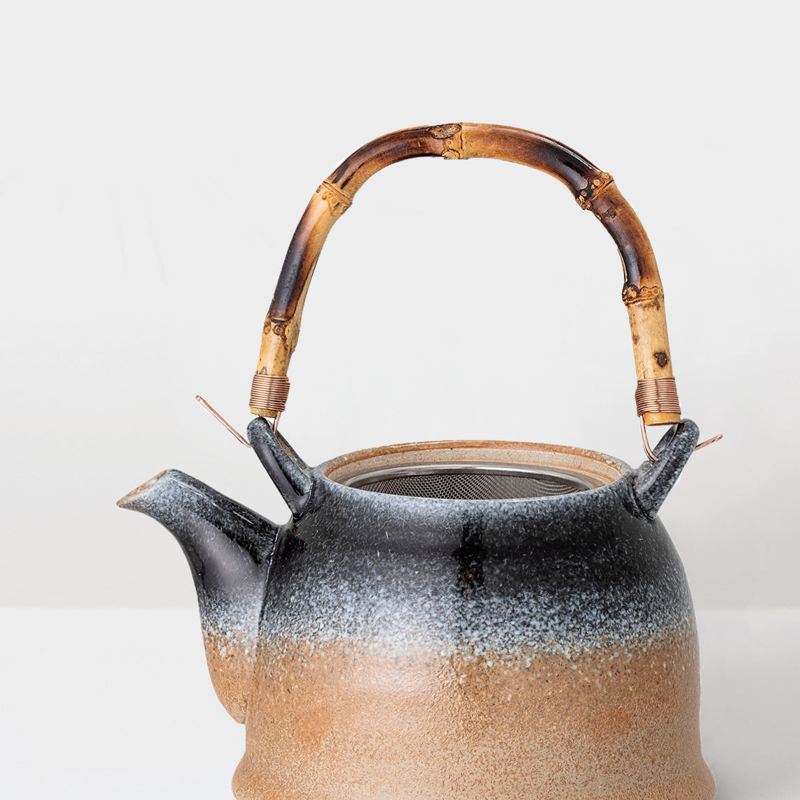 Handcrafted earth glazed Teapot with strainer
