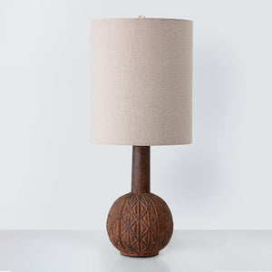 Brown Terracotta table lamp with linen lampshade