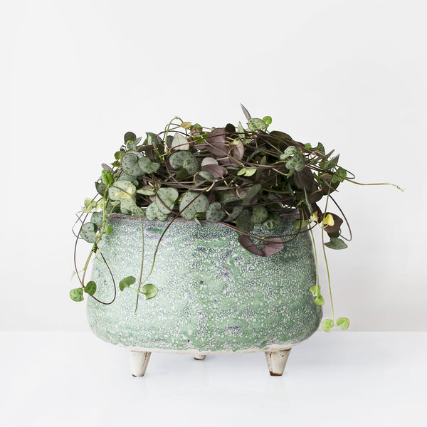 Handcrafted Three leg green glazed stoneware plant pot