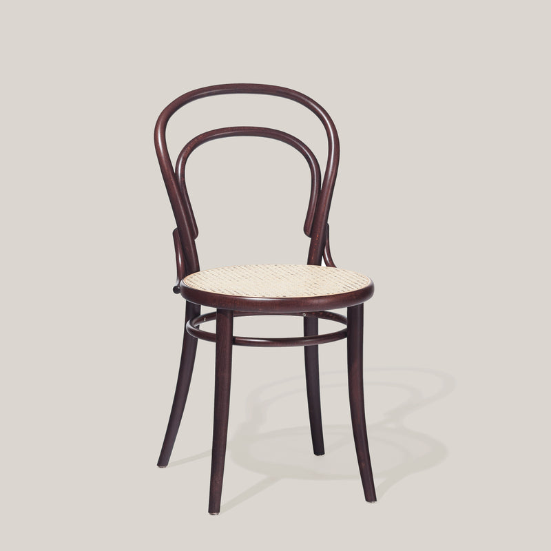Ton chair 14 brown with cane seat