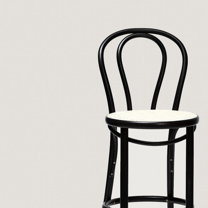 Ton barstool 18 black with cane seat