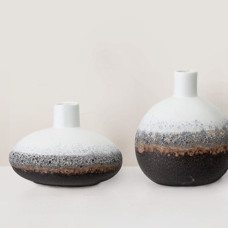 Set of three handcrafted stoneware glazed vases
