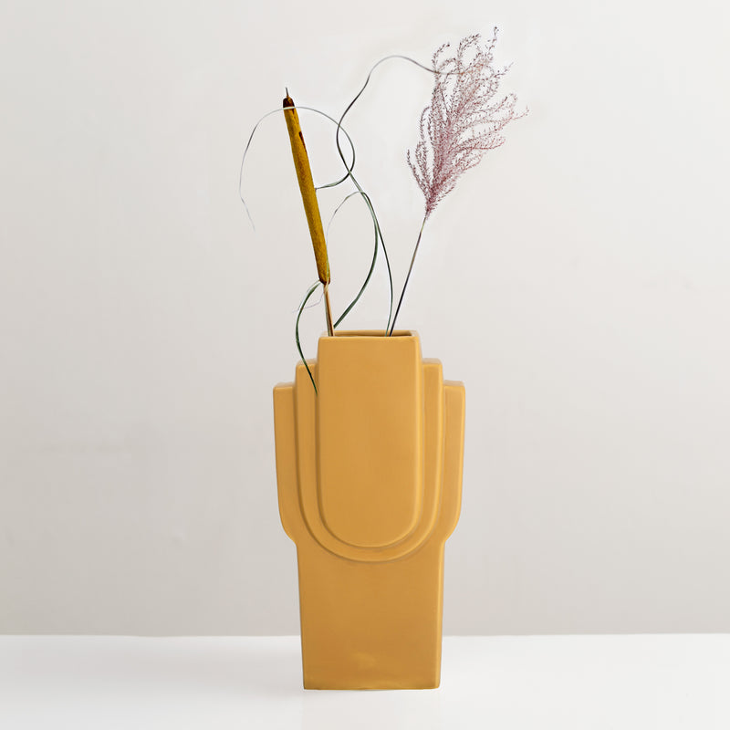 Ata yellow glazed stoneware vase
