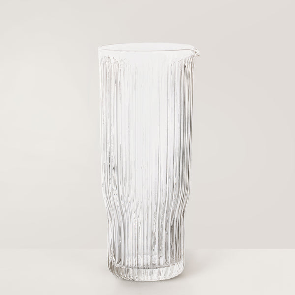 Clear ribbed glass decanter