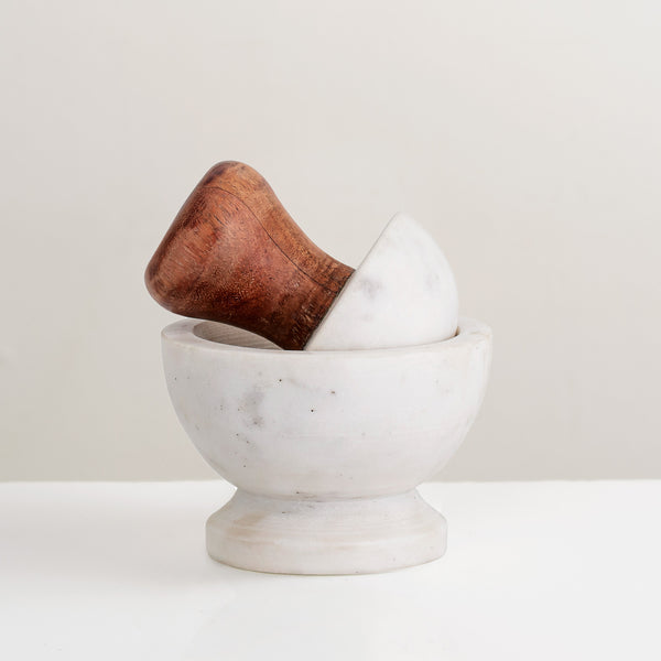 Marble and wood pestle & Mortar