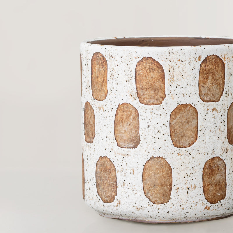 Azka Handcrafted white glaze terracotta plant pot