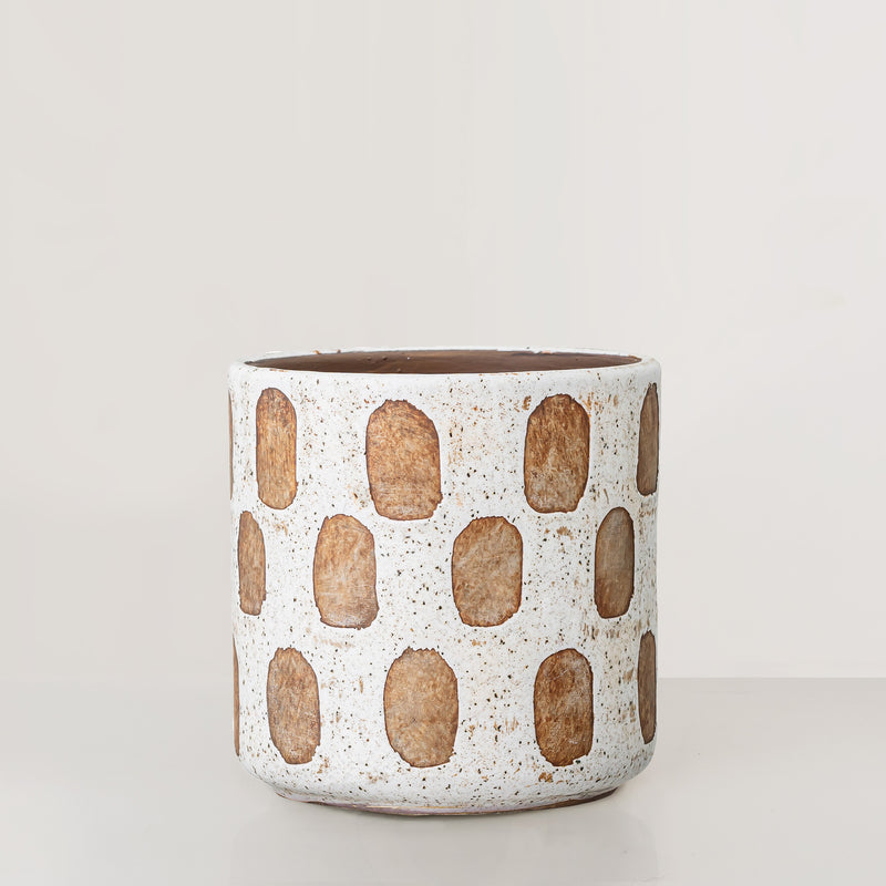 Handcrafted white glaze terracotta plant pot