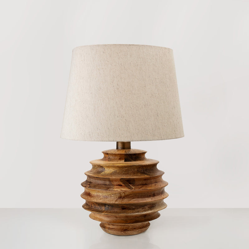 Mango wood table lamp with cotton lampshade
