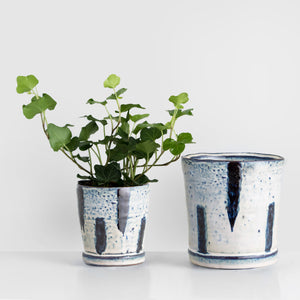 Handmade blue and white glazed Stoneware plant pot