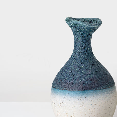 Handcrafted Blue and white Stoneware Vase