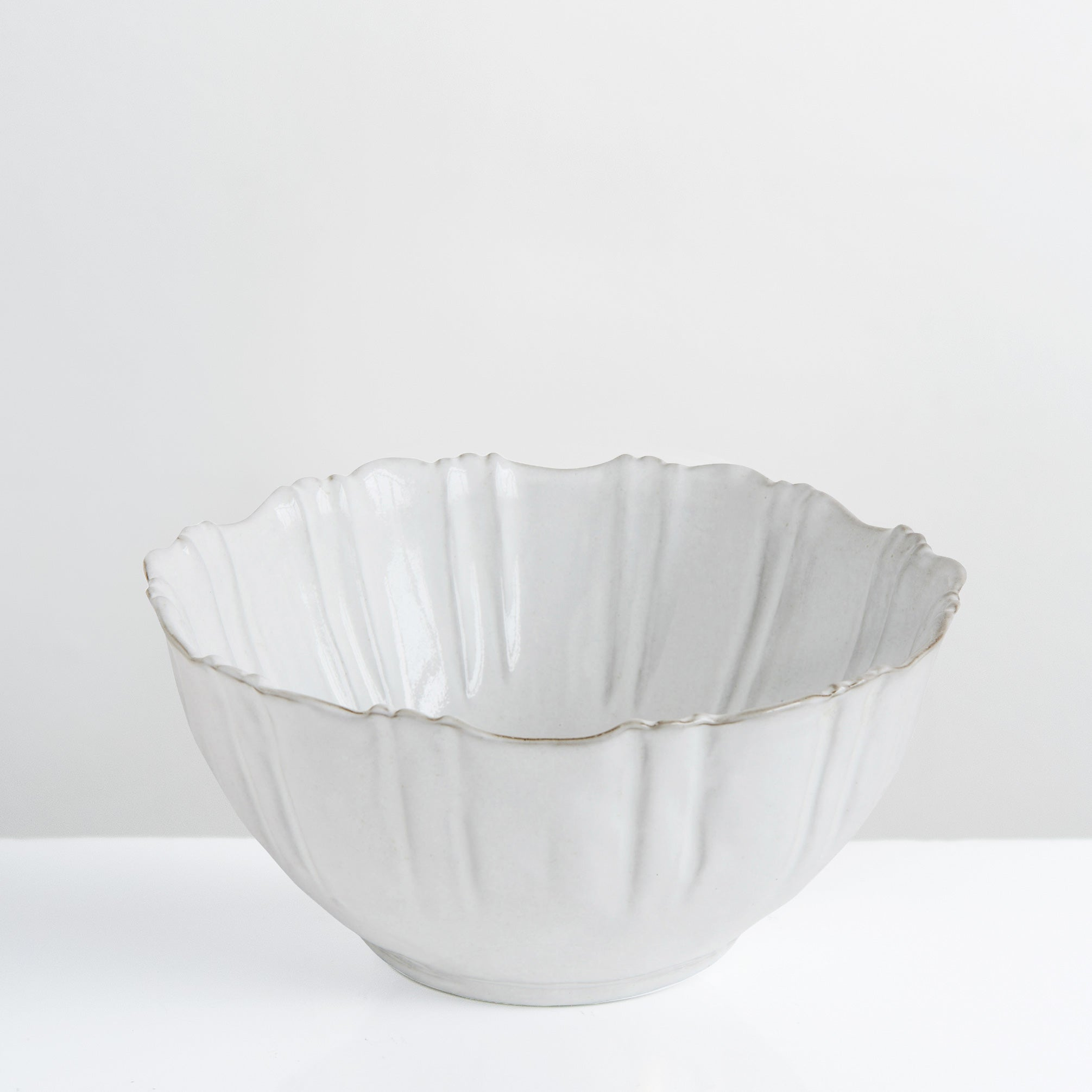 Handmade white glazed large Flora bowl